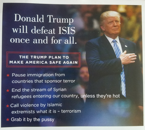 donald trump campaign flyer about how he would defeat ISIS
